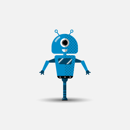 Funny vector robot icon in flat style isolated on grey background. Cute flat Vector illustration of Chatbot icon, vintage friendly AI robot. Customer support service chat bot. Cute cartoon robot icon