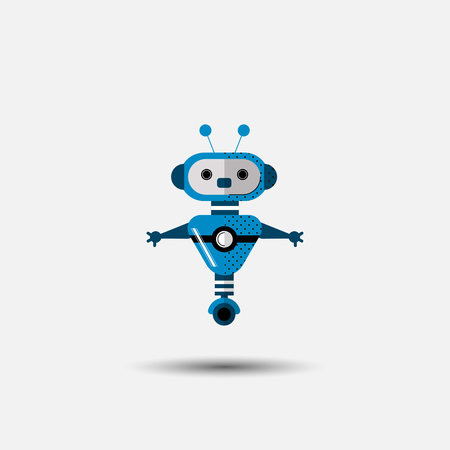 Funny vector robot icon in flat style isolated on grey background. Cute flat Vector illustration of Chatbot icon, vintage friendly AI robot. Customer support service chat bot. Cute cartoon robot icon isolated on grey Illusztráció