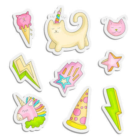 Cute funny Girl teenager colored stickers set, fashion cute teen and princess icons. Magic fun cute girls objects - unicorn, lightning, stars, cats pizza, ice cream draw teens icon patch collection colored on white Ilustrace