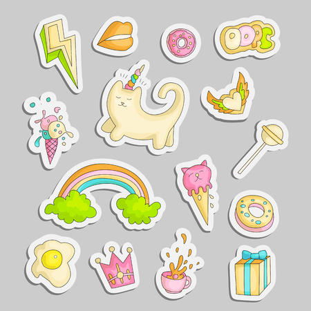 Cute funny Girl teenager colored stickers set, fashion cute teen and princess icons. Magic fun cute girls objects - unicorn, rainbows, eggs, crown, gift and other draw teens icon patch collection colored on gray