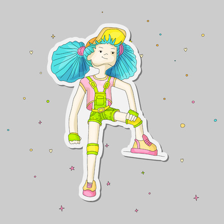 Youn girl vector cartoon hand draw illustration. Teenage young girl in bright colors, rebel girl illustration. Young rebel girl on gray.