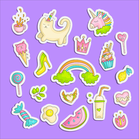 Cute funny Girl teenager colored stickers set, fashion cute teen and princess icons. Magic fun cute girls objects - unicorn, sweets, rainbow, cocktail, watermelon and other draw teens icon patch collection colored on violet