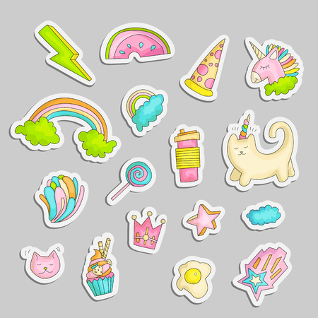 Cute funny Girl teenager colored stickers set, fashion cute teen and princess icons. Magic fun cute girls objects - unicorn, rainbows, pizza, crown, cats, stars and other draw teens icon patch collection. 일러스트