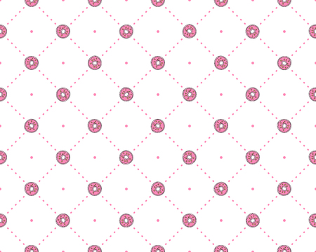 Funny princess pattern with geometrical structure and sweet donuts. Donut sweets princess pattern, cute teen fashion elements for princess and little girls. Princess cute seamless pattern, pink dots