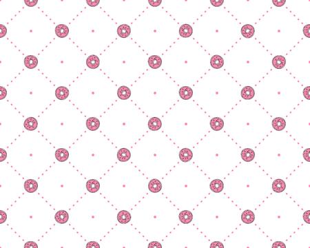 Lustiges Prinzessinnenmuster mit geometrischer Struktur und süßen Donuts. Donut-Süßigkeiten-Prinzessinmuster, süße Teenie-Modeelemente für Prinzessinnen und kleine Mädchen. Prinzessin süßes nahtloses Muster, rosa Punkte