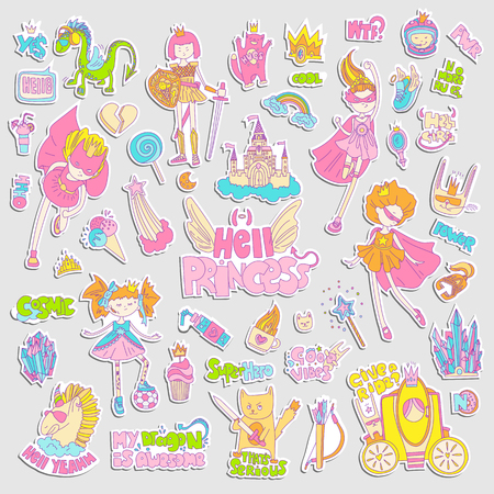 Brave tomboy Hell princess vector cartoon set. Princess magic and feminism illustration, little teen girl, princess superhero and warrior, brave girl illustration. Feminism princesses collection - castle, crown, cat, cocktail  イラスト・ベクター素材