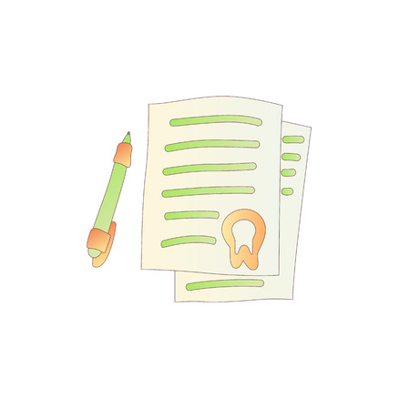 Cute cartoon letter with stamp illustration. Colored paper icon with pen and stamp on top. Cartoon vector document, letter icon isolated on white background. Cartoon document icon with stamp