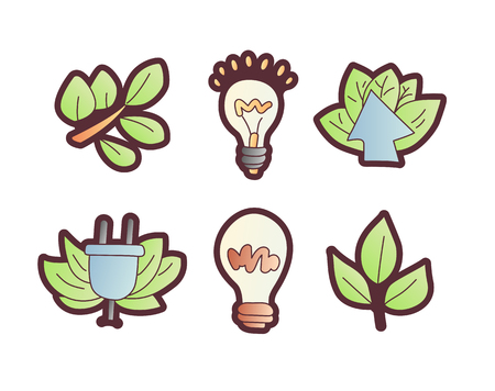 Save enegry vector cartoon icons. Green leaves with bulb, save the planet icon set. Electricity and green leaves eco, ecologic concept icon set. Cartoon save energy icon collection 일러스트