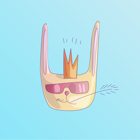 Cute cool rabbit with crown on his head, in sunglasses and chewing a blade of grass. Cute cartoon vector illustration sticker of rabbit head on blue background. Cool happy cute bunny, girly icon