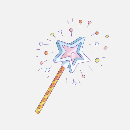 Cute cartoon sticker magic wand cartoon girl fashion illustration. Cute vector illustration of magic wand for little girl and princess with sparkles. Hand draw princess magic wand