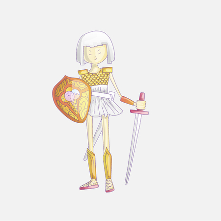 Vector cartoon warrior girl illustration with sword and shield, in crown and armour. Cute princess in crown and warrior dress with armor, cute illustration. Cute princess warrior illustration.  イラスト・ベクター素材