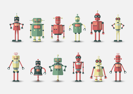 Retro vintage funny vector robot set icon in flat style isolated on grey background. Vintage illustration of flat Chatbot icon collection. Set of Cute cartoon retro robot icons, vintage chat bot set isolated on grey