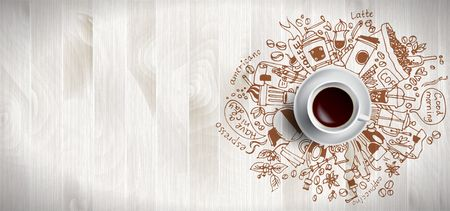 Coffee concept on wooden background - white coffee cup, top view with doodle illustration about coffee, beans, morning, espresso cafe, breakfast. Morning coffee vector illustration. Hand draw.