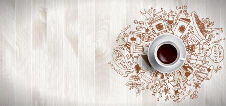 Concept de café sur fond en bois - tasse à café blanche, vue de dessus avec illustration de griffonnage sur le café, les haricots, le matin, le café expresso, le petit-déjeuner. Illustration vectorielle de café du matin. Tirage au sort à la main. Vecteurs