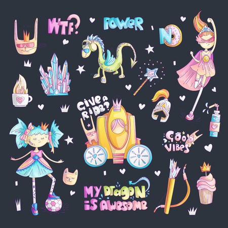 Brave tomboy princess vector cartoon set. Princess magic and feminism illustration, little teen girl with ball, princess superhero, brave girl illustration. Feminism princesses collection - dragon, brougham, magic wand, crystal Иллюстрация