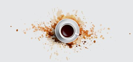 Coffee concept on white background - white realistic cup, top view with watercolor coffee splashes. Hand draw and watercolor coffee illustration with beautiful art splashes, coffee cup concept