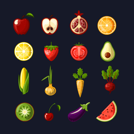Healthy food colored flat icon set. Fruits and vegetables in one set, colored flat fresh healthy food icons, vector illustration. Healthy food Icon Set isolated on black background.  イラスト・ベクター素材