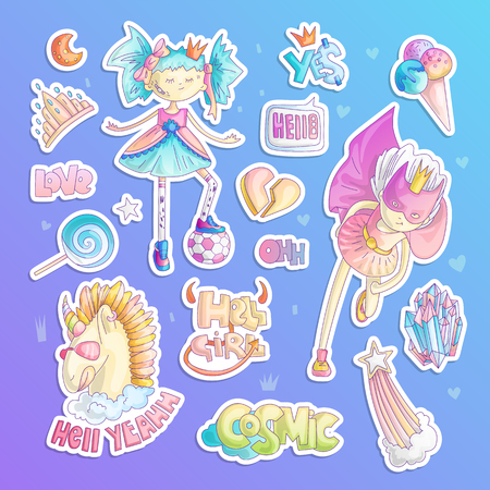 Brave tomboy princess vector cartoon set. Princess magic and feminism illustration, little teen girl with ball, princess superhero, brave girl illustration. Feminism princesses collection - unicorn, tiara, crown