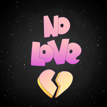 No Love lettering with broken heart icon isolated on black background. Pastel pink gradient colors on No Love cartoon style words and shape of broken heart. Parting and divorce cartoon concept