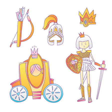 Medieval cute cartoon princess icon set. Princess girl warrior, helmet, crown, bougham and bow with arrows. Cute gold and grey collection for little girl and princesses. Royal princess icon collection