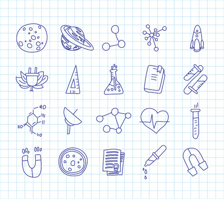 Cute cartoon icons on science, school, study theme. Physics, chemistry, astronomy and other sciences - vector illustrations of icons for children. Back to school educational icons, science icon set