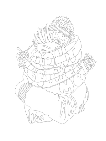 Cute cartoon hand draw outline illustration about frozen girl in autumn and winter time and words dont bother me on her scarf. Coloring page, girl in hat and scarf illustration