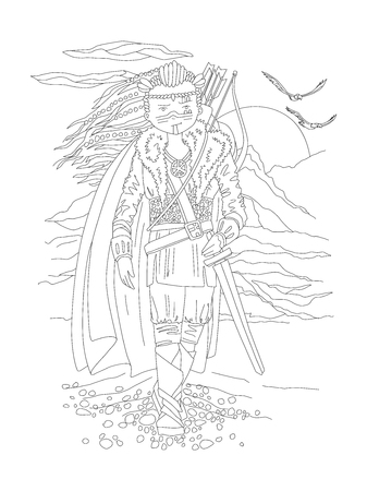 Cute hand draw coloring page with brave girl warrior, in ancient wild outfit - viking. Girl wanderer, girl warrior, viking girl - coloring page, vector outline illustration