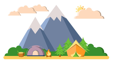 Summer camping, trekking and climbing vector landscape flat illustration. Mountain, woods and forest, tents, camfire with clouds isolated on white background. Vector outdoor summer vacation landscape. Ilustração