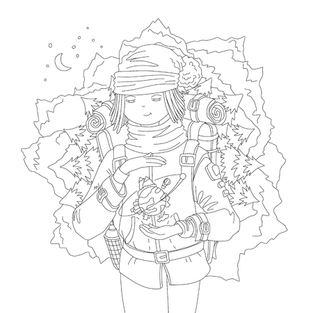 Cute hand draw coloring page with wanderer girl with backpack, dreaming about mountain travel, holding the Earth between hands. Girl, ready for magic travel, vector outline illustration, coloring page