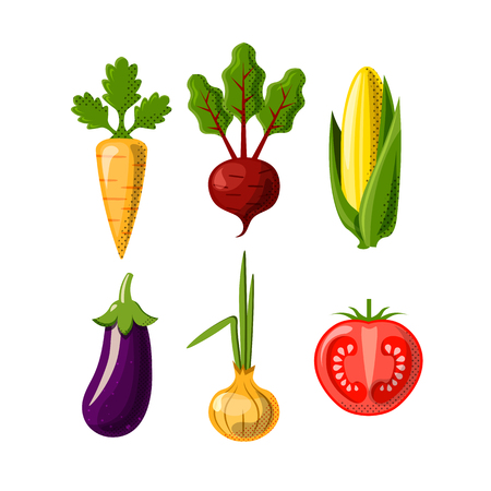 Vegetables flat icons isolated on white background. Carrot, beetroot or beet, corn, onion and tomate and eggplant. Flat icon set of healthy food - vegetables. Ilustração