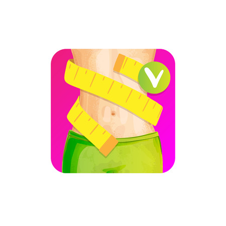 Women slim waist with measure tape around - weight loss concept icon, bright colors. slim body with centimeter tape, healthy lifestyle vector concept for apps, sites