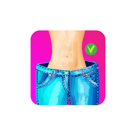 Women slim waist in big jeans - weight loss concept icon, bright colors. slim body in giant blue jeans, healthy lifestyle concept for apps, sites