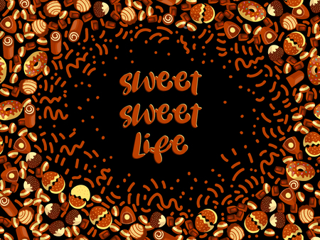 Chocolate candy frame of choco candies on black background. Chocolate candy banner, top view, flat lay with decorative elements. Chocolats candies, sweet background