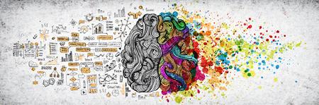 Concepto de cerebro humano izquierdo derecho, ilustración con textura. Parte izquierda y derecha creativa del cerebro humano, concepto de partes emotivas y lógicas con ilustración de doodle social y empresarial del lado izquierdo y salpicaduras de pintura artística del lado derecho