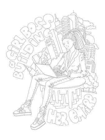 Cute hand draw coloring page with brave girl. Feminist zen art vector illustration of Girl Boss, Building her Empire, sitting with laptop, surrounded by skyscrappers - outline illustration for colouring pages.
