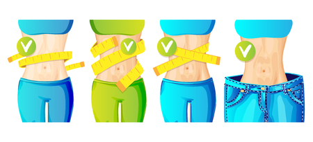 Women slim waist with measure tape around and in big jeans - weight loss concept icon, bright colors. slim body with centimeter tape, healthy lifestyle vector concept for apps, sites