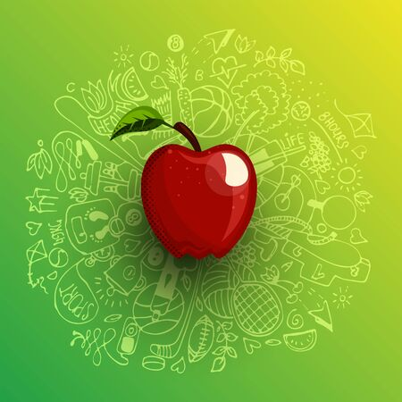 Healthy lifestyle concept with sport and healthy diet doodles and icons - sport, food, happy and normal sleep icons around fresh, juicy apple on white background. Healty diet and sport concept 일러스트