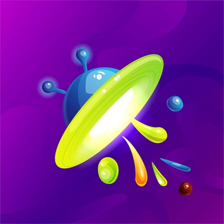 Space fantasy planet, asteroid, moon, fantastic world game vector cartoon icon, illustration. Color asteroid and planet, illustration fantastic universe cartoon planets. Fantasy colorful planet with c