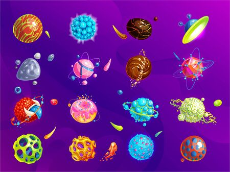 Space planets, asteroid, moon, fantastic world game vector cartoon icons. Color asteroid and planet, illustration fantastic universe cartoon planets. Fantasy colorful planets set. Cosmic collection