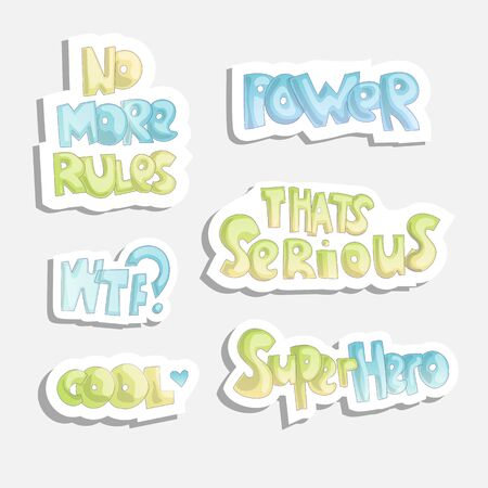 Cute cartoon funny quotes, sticker quotes about free life. No more rules, power, serious, cool and other words, funny sticker girl fashion style, isolated 일러스트