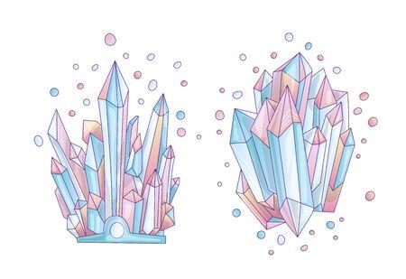 Blue and pink crystal, cartoon cute vector Quartz illustration. Quartz Crystal druse, pink princess grain on white background. Cartoon pink semiprecious stones of blue Quartz, cute princess illustration