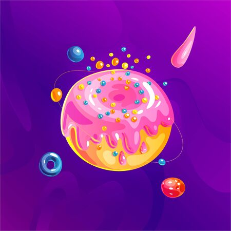 Space fantasy planet, asteroid, moon, fantastic world game vector cartoon icon, illustration in donut sweet style. Pink dessert glaze with colored sparkles. Fantasy colorful planet with cosmic element