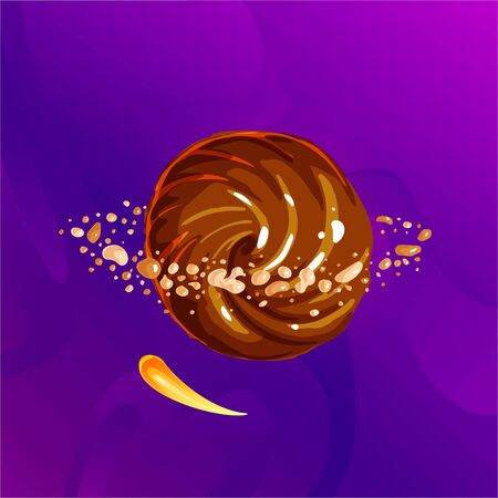 Space fantasy planet, asteroid, moon, fantastic world game vector cartoon icon, illustration chocolate style. Chocolate candy planet with asteroid belt around in nuts pieces. Color asteroid and planet