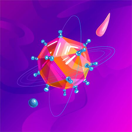 Space fantasy planet, asteroid, moon, fantastic world game vector cartoon icon, illustration in virus style. Color asteroid and planet, illustration fantastic universe cartoon planets. Fantasy colorfu