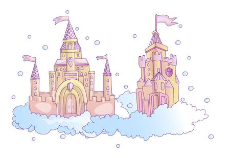 vector cartoon illustration of pink princess magic castle in clouds. pink princess magic castle in blue clouds, with flags and torrets, pastel pink color. Cute cartoon princess castle sticker illustra