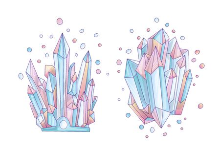 Blue and pink crystal, cartoon cute vector Quartz illustration. Quartz Crystal druse, pink princess grain on white background. Cartoon pink semiprecious stones of blue Quartz, cute princess illustrati
