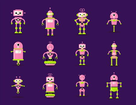 Robot toys collection in pink, green colors. Fun vector robots toy set icon in flat style isolated on violet background. Illustration of flat Chatbot toys icon collection. Set of Cute retro robot toys