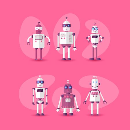 Retro vintage funny vector robot set icon in flat style isolated on pink background. Gradient modern flat Chatbot icon collection. Set of Cute cartoon retro robot icons, chat bot set isolated on pink