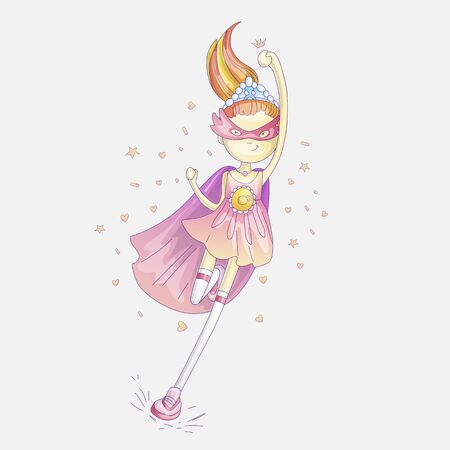Superhero princess, little teen girl as a superhero vector cartoon illustration with gradients. Super hero girl running and fighting, brave princess, cute cartoon feminism concept about girls.