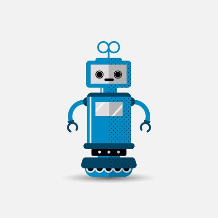 Funny vector robot icon in flat style isolated on grey background. Cute flat Vector illustration of Chatbot icon, vintage friendly AI robot. Customer support service chat bot. Cute cartoon robot icon  일러스트